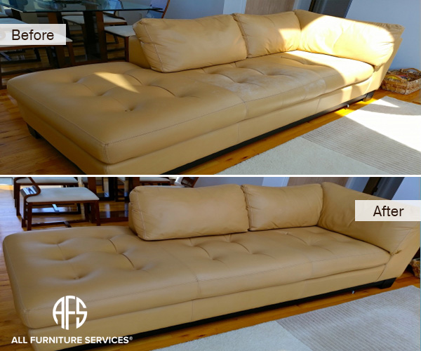 Aniline top grain waxed finished leatehr discoloration sweat urine liquid damage repair dyeing cleaning