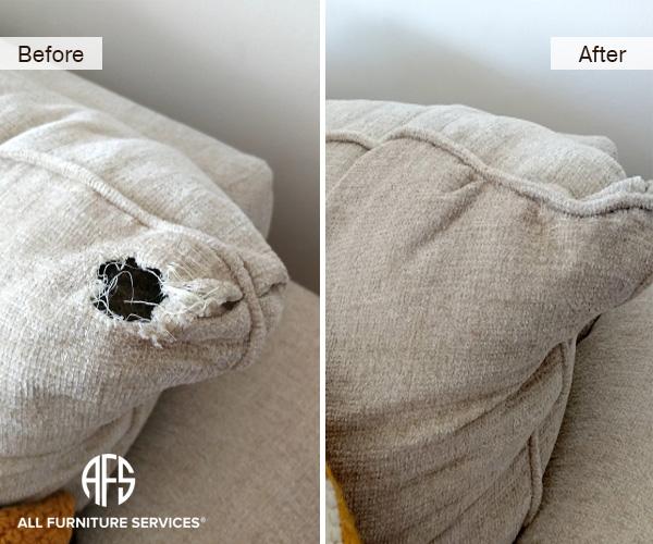 Animal Damaged Fabric Sofa repair stitch tear fabric restoration patch dog cat bite tear chunk missing upholstery