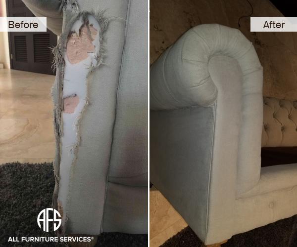 Animal Dog scrape claw bite tear damage fabric sofa chair arm cushion replacing repairing upholstery