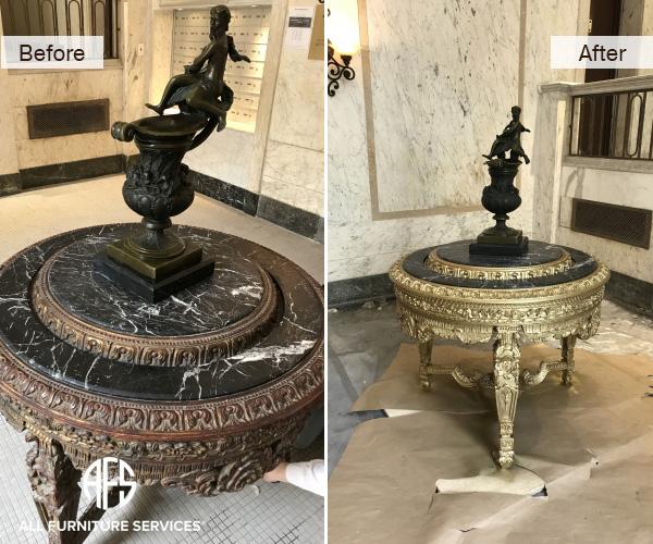 Antique Brass Marble Granite Stone Gold Leaf Table Statue Art Gilding Restoration Finishing