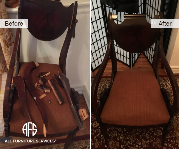 Antique Chair Wooden Frame Repair Restoring crashed arms back legs