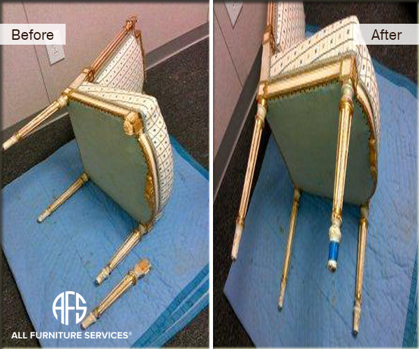 Antique Gold Leaf Chair Leg Repair