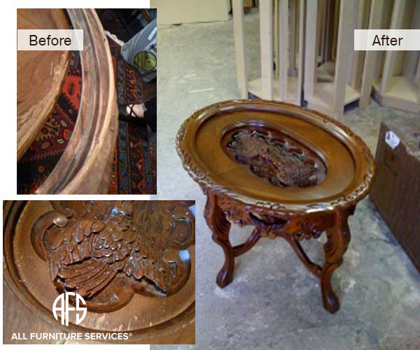 Antique Table Wood Carving Restoring Waxing