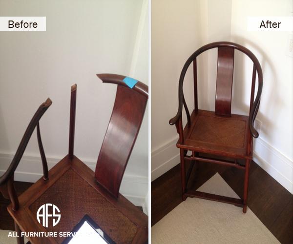 Antique chair restoration wood frame back