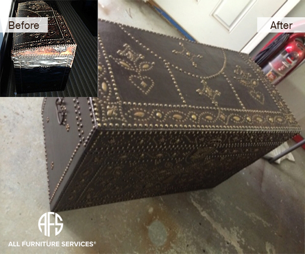 Antique furniture trunk leather restoration