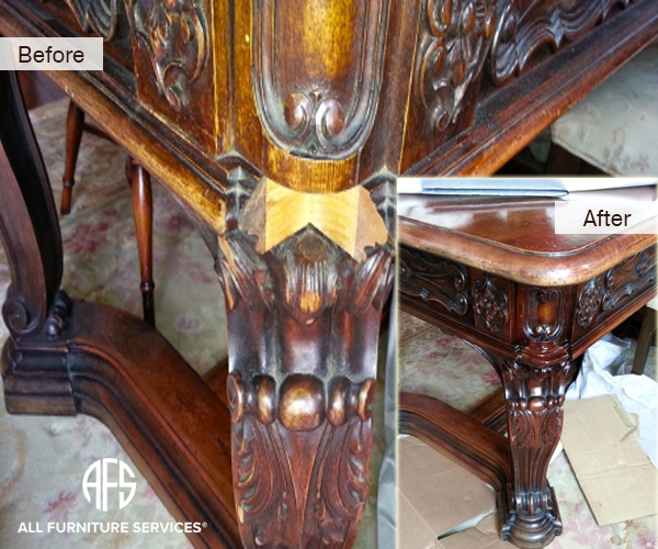 Antique furniture wood damage repair recreating broken missing part