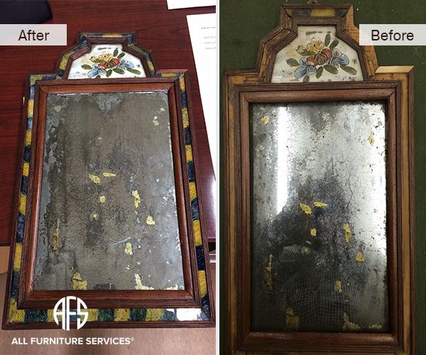 Antique mirror restoration assembly frame gilding leaf silvering glass detail