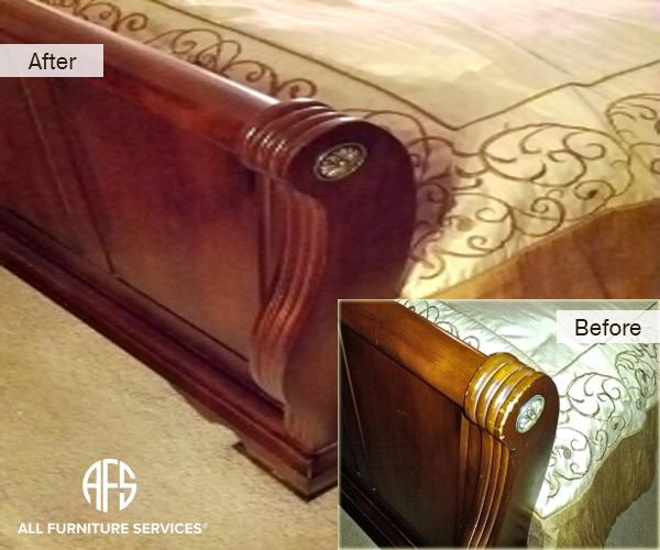 Bed Footboard wood repair finish