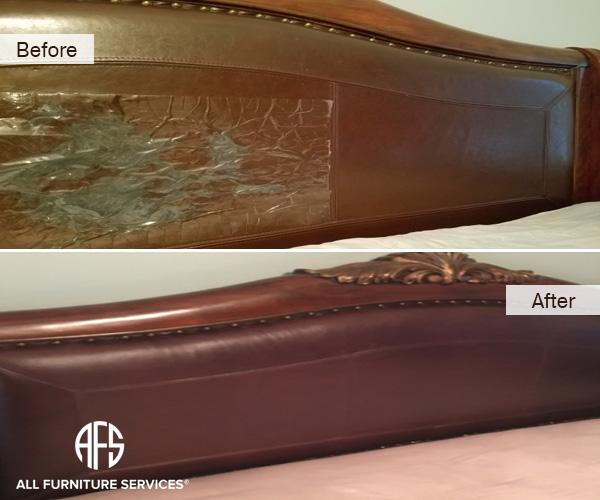 Bed Headboard Leather Vinyl Cracking Peeling Wear and Tear Discoloration upholstery Repair replacing restoring