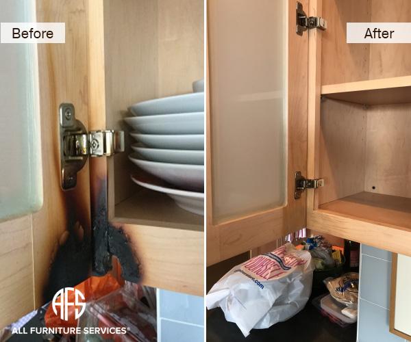 Burn Wood Damage Repair Kitchen Cabinet Restoration Fill Finishing
