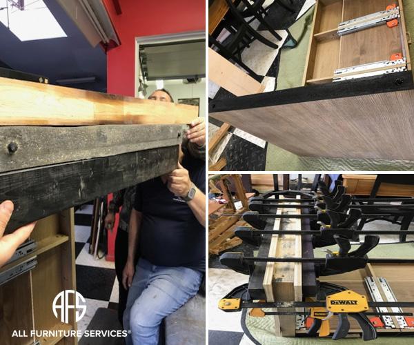 Desk Table Leg water damage expanded warped wood repair restoration leveling press veneer and compress wood fix