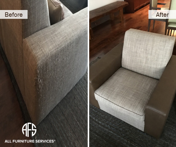 Furniture Chair Upholstery Fabric Arm Change to Leather Cat Scratches Pulls Animal damage repair