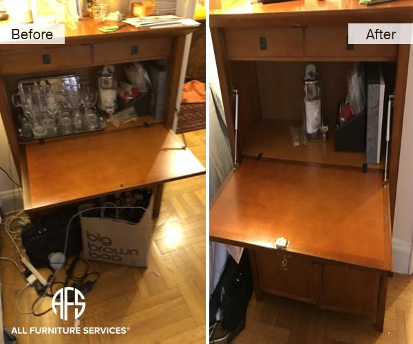 Furniture-Desk-Drop-down-door-repair-restoration-hardware-replacement-hinge-slow-arm-supports