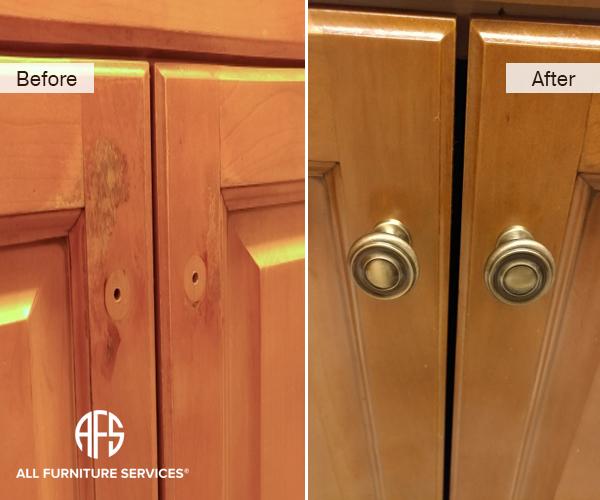 Kitchen Cabinet Door Repair Maintenance Finish Peeling touch up Improvement