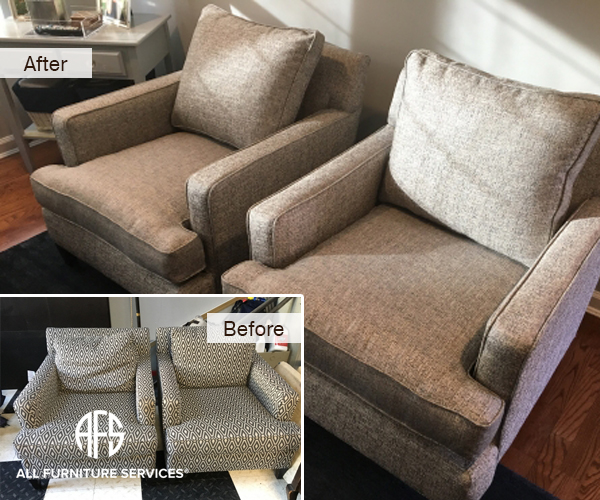 Living Room Arm Chair re-upholstery fabric and cushion change