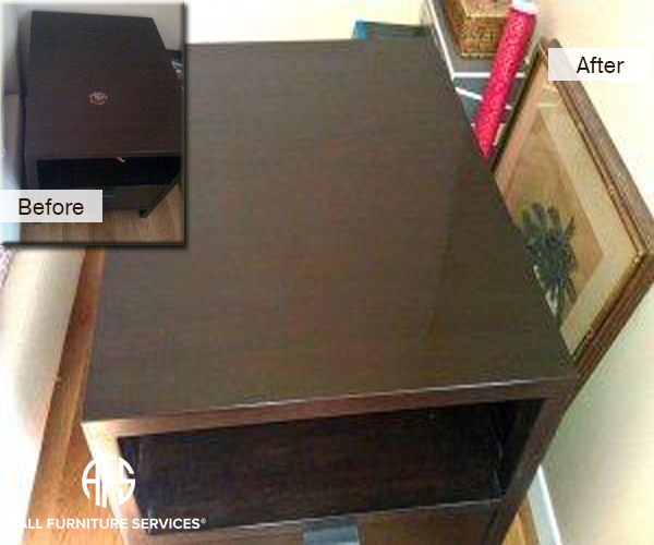 Nail polish remover damage wood top repair nightstand