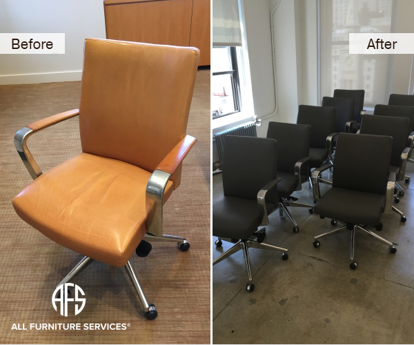 Office chairs re-upholstery restoration color material leather change