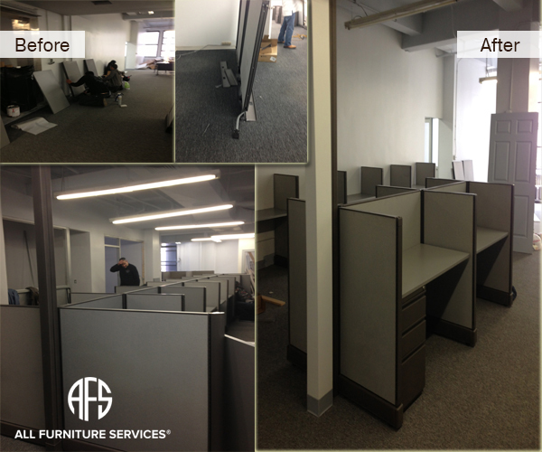 Office partitions cubicles disassembly clening assembly