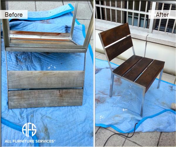 Outdoor chair repair teak oil finishing