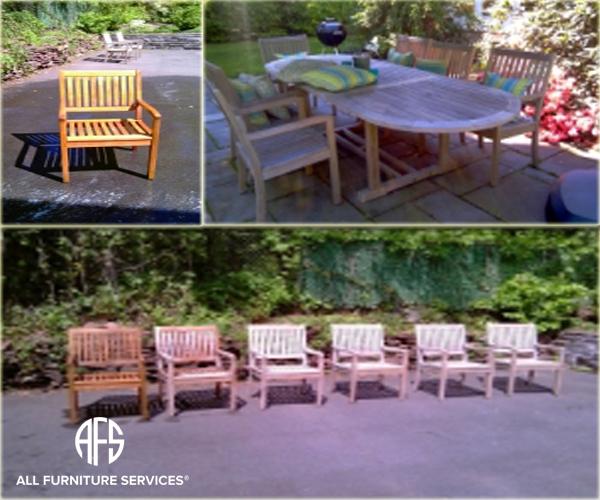 Outdoor furniture restoration refinishing teak oil