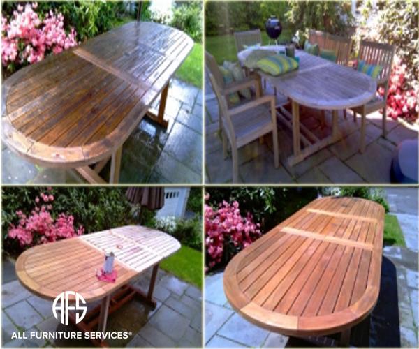 Outdoor furniture table teak oil finish clean sanding