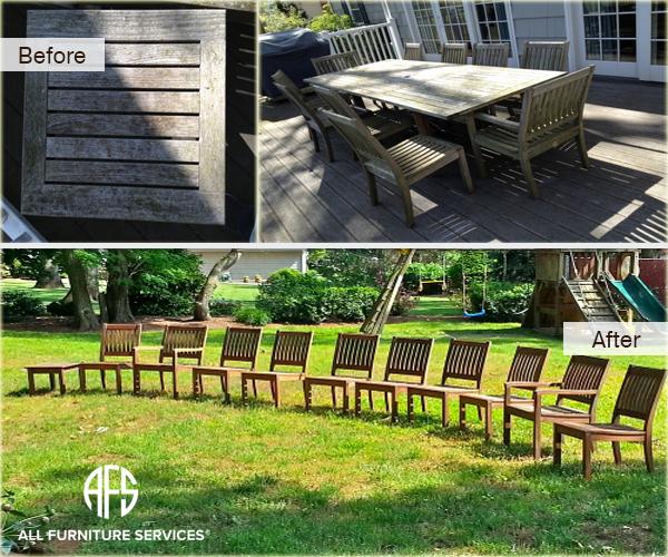 Outdoor wooden chair furniture teak oil finish clean maintenance