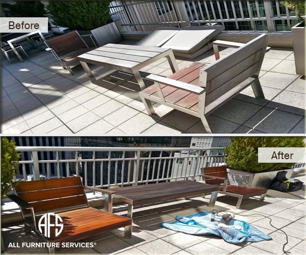 Patio outdoor backyard furniture repair restoration teak