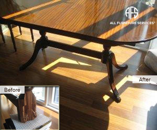 Pedestal dining table legs broken crack repair restoration