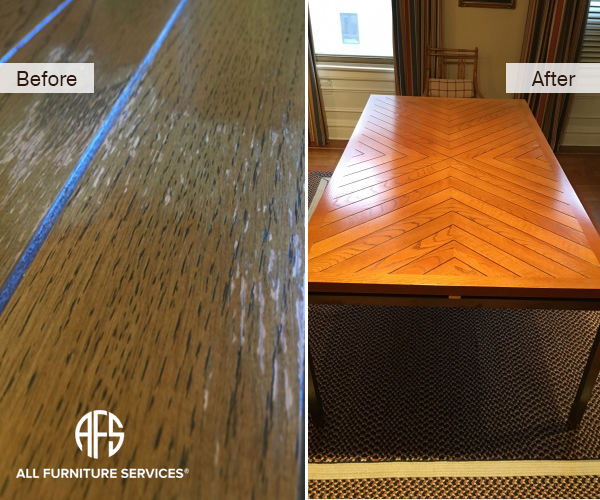 Peeling Wooden Furniture Kitchen Dining Table top water damage Repair Striping Staining and Re-Finishing
