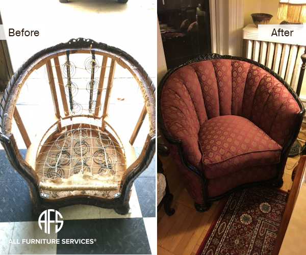Rebuilding antique chair springs straps padding upholstery