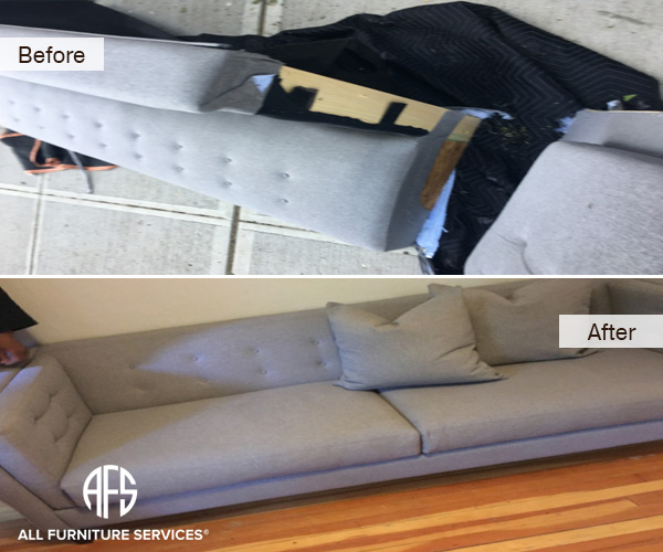 Tufted Sofa Disassembling Take Apart couch disassembly arm back removal to fit into elevator doorway