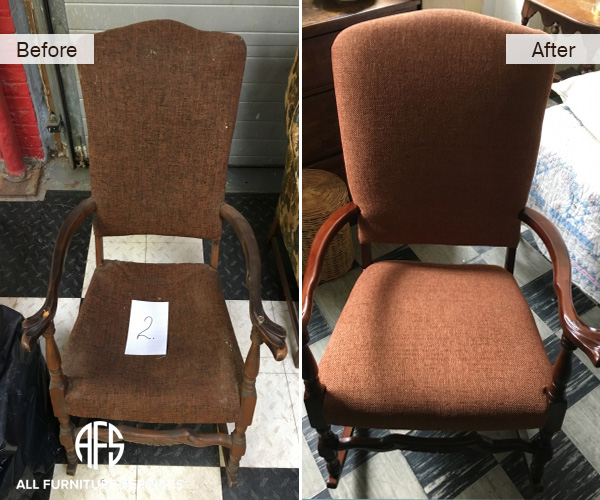 antique arm chair spring web strap padding repair restoration and reupholstery