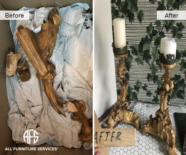 antique-art-candle-holder-lamp-broken-repair-restoration-brass-plaster-crack-break