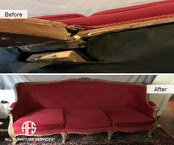 antique furniture seat spring board frame support wood rail cracked broken repair and restore