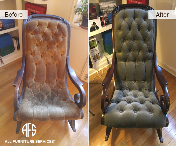 channel tufting reupholstery and restoration of the rocking chair