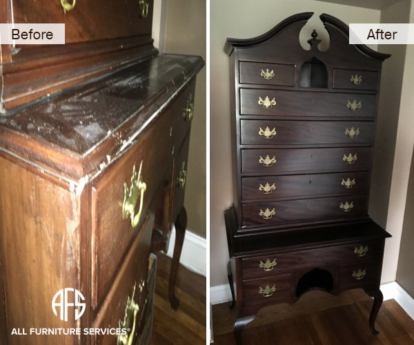 drawer chest high boy antique cabinet restoration refinishing color stain change