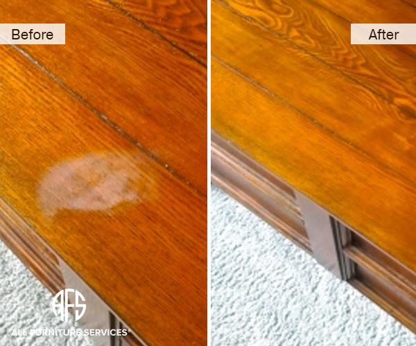 furniture dresser table top heat water liquid white milky mark damage repair restoration finishing