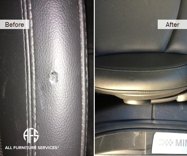 leather vinyl car plane seat burn damage repair fill color match dye