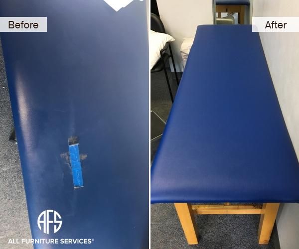 medical masage dental exam table chair repair vinyl upholstery finishing repair