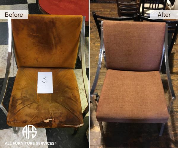 metal armchair reupholstery repadding fabric change