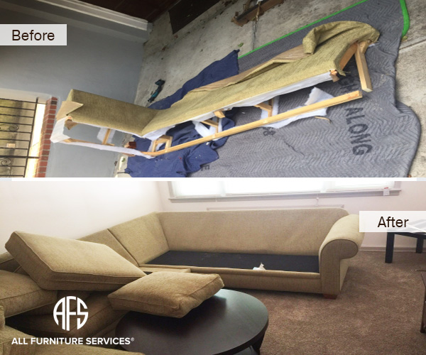 sectional couch sofa frame arm back upholstery disassembly assembly reassemble take apart to fit through the door elevator move