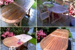 Outdoor furniture table teak oil finish clean sanding