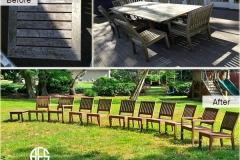 Outdoor wooden chair furniture teak oil finish clean maintenance