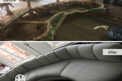 Shaped sectional sofa chair set antique z-spings, coil springs straps webbing padding cushions complete restoration re-upholstery