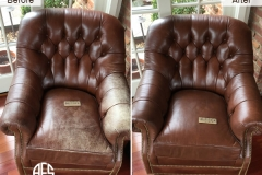Tufted Chair Leather Dyeing Color Restoration Upholstery Tufting repair