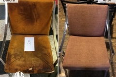 metal armchair reupholstery repadding fabric change
