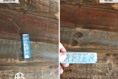 open grain burch teak hard wood root scratch repair  touch-up fill-in top damage table