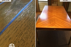 wooden kitchen dining table top water liquid peeling damage repair refinishing staining lacquer