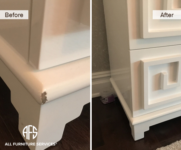white hight super gloss lacquer gouged corner furniture cabinet table repair fill touchup lacquer